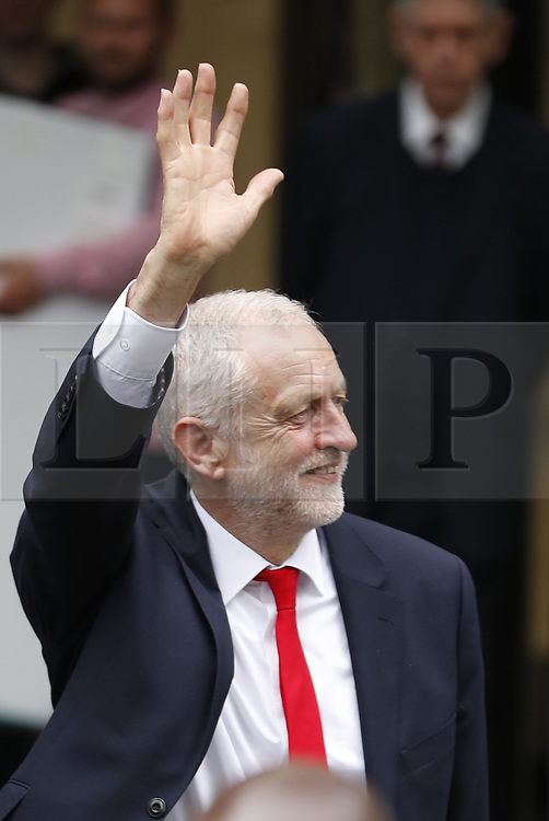 © Licensed to London News Pictures. 09/06/2017. London, UK. Labour Leader Jeremy Corbyn leaves party headquarters. Theresa May remains in Downing Street as negotiations begin to form a government after the Conservatives failed to win a clear majority in the general election . Photo credit: Peter Macdiarmid/LNP