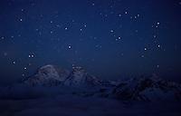 Russia, Caucasus. Stars over Mount Donguzorun, 4468 m asl.
