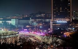 Terror in der T¸rkei: Zwei Bombenanschl‰ge nach dem Fussballspiel Besiktas gegen Bursaspor nahe der Vodafone-Arena in Istanbul fordern Todesopfer unter den Polizeikr‰ften / 101216<br /> <br /> ***Ambulances and firefighter cars line up at the blast area outside a soccer stadium in Istanbul, Saturday night, December 10, 2016.  Nearly 38 people, mostly police officers lost their lives after twin bomb attacks outside the stadium in Istanbul Saturday night following a soccer game.***