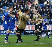 Photo: Steve Bond/Richard Lane Photography. Leicester City v Huddersfield Town. Coca Cola League One. 24/01/2009. Michael Morrison slots the ball home to equalise