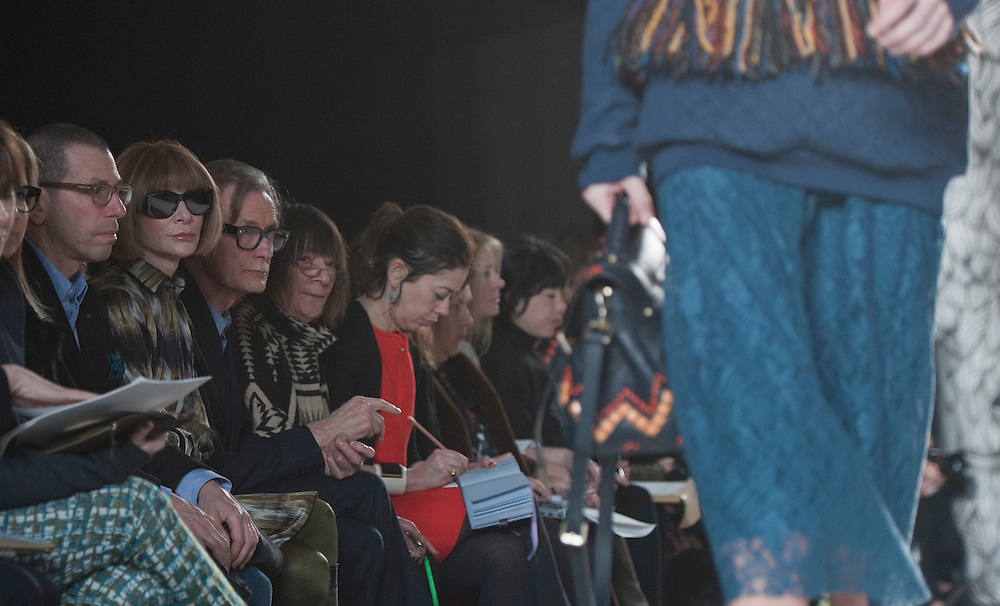 Anna Wintour and Bill Nighy watch models at the Mulberry catwalk show at London Fashion Week on 19/02/12.photo Ki Price
