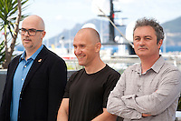 Jury members Argentinian director Santiago Loza, Romanian director Radu Muntean and French director Jean-Marie Larrieu at the Cinefondation and Short Films Jury photo call at the 69th Cannes Film Festival Thursday 19th May 2016, Cannes, France. Photography: Doreen Kennedy