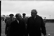 Australian Prime Minister Visits Ireland.   (H79)..1974..23.12.1974..12.23.1974..23rd December 1974..As part of his tour of E.E.C. Capital Cities,Mr Gough Whitlam, the Australian Prime Minister visited Dublin today. In Dublin he will have talks with An Taoiseach, Mr Liam Cosgrave...An Taoiseach,Mr Liam Cosgrave and the Australian prime Minister,Mr Gough Whitlam pictured making their way to the terminal building.