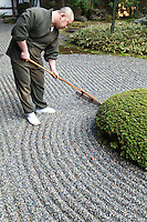 Rev Takafumi Kawakami is the vice-abbot at Shunkoin Temple and teaches classes about Zen culture and meditation and serves as a bridge between the Eastern and Western cultures. Here Rev Takafumi is raking the temple's Zen Garden. The Garden of Bolders, or Sazareishi-no-niwa, is the main garden of Shunkoin. The theme of the garden is the Great Shrine of Ise in Mie Prefecture. The Great Shrine of Ise is the head shrine of all Shinto shrines in Japan.