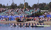 Sydney, AUSTRALIA, men's eights, GBR M8+ winning the gold medal,  at the Olympic Regatta, Penrith Lakes. NSW. Credit [Peter Spurrier/Intersport Images] .. 2000 Olympic Regatta Sydney International Regatta Centre (SIRC) 2000 Olympic Rowing Regatta00085138.tif