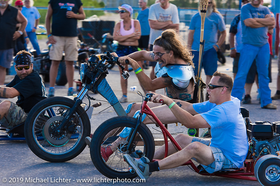 Bean're in the middle of the Drift Trike race Saturday afternoon at the Smokeout. Rockingham, NC. USA. June 20, 2015.  Photography ©2015 Michael Lichter.