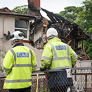 Police and Fire crews in attendance along with Gas engineers at the scene of yesterday's explosion in Burn Street, Bonhill. Picture Robert Perry for The Sun 28th May 2016<br /> <br /> Please credit photo to Robert Perry<br /> <br /> FEE PAYABLE FOR REPRO USE<br /> FEE PAYABLE FOR ALL INTERNET USE<br /> www.robertperry.co.uk<br /> <br /> NB -This image is not to be distributed without the prior consent of the copyright holder.<br /> in using this image you agree to abide by terms and conditions as stated in this caption.<br /> All monies payable to Robert Perry<br /> <br /> (PLEASE DO NOT REMOVE THIS CAPTION)<br /> This image is intended for Editorial use (e.g. news). Any commercial or promotional use requires additional clearance. <br /> Copyright 2016 All rights protected.<br /> first use only<br /> contact details<br /> Robert Perry     <br /> 07702 631 477<br /> robertperryphotos@gmail.com<br />       <br /> Robert Perry reserves the right to pursue unauthorised use of this image . If you violate my intellectual property you may be liable for  damages, loss of income, and profits you derive from the use of this image.