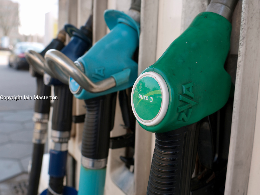 Detail of petrol pumps at BP filling station in the Netherlands