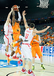 05-09-2015 CRO: FIBA Europe Eurobasket 2015 Georgie - Nederland, Zagreb<br /> Duda Sanadze of Georgia vs Charlon Kloof of Netherlands during basketball match between Georgia and Netherlands at Day 1 in Group C of FIBA Europe Eurobasket 2015, on September 5, 2015, in Arena Zagreb, Croatia. Photo by Vid Ponikvar / RHF