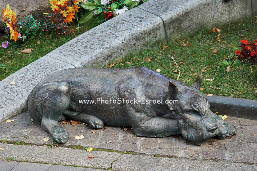 Grave of the Soviet Russian actor Yuri with dog, Nikulin at Novodevichy Cemetery in Moscow, Russia