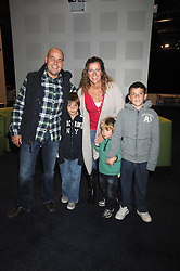"""SALLY GUNNELL and her husband JONATHAN BIGG with their children, left to right, LUCA, MARLEY and FINLEY at a VIP Opening night of Disney & Pixar's """"Finding Nemo on Ice"""" at The O2 Arena Grennwich London on 23rd October 2008."""
