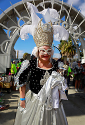 08 Feb 2015. New Orleans, Louisiana.<br /> Mardi Gras. Mragarita Bergen and Duchess Chiquita Bergen at The Mystic Krewe of Barkus. The dog parade  takes to the streets of the French Quarter with the theme 'Bark Wars: Return of the K-9.' Barkus is the only officially licensed Mardi Gras krewe by and for canines. <br /> Photo; Charlie Varley/varleypix.com