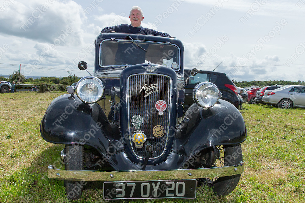 Sean McInerney from Kildysart  in his 1937 Austin 7 at the vintage car show during the 2015 Annual Kildysart Agricultural Show