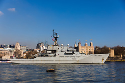 © Licensed to London News Pictures. 06/02/2020. London, UK. HMS Tyne leaves central London on the River Thames passing the Tower of London following a three day central London visit. HMS Tyne is one of the three River-class patrol ships built to safeguard the fishing stocks and enforce national and EU fisheries legislation within British Fishery Limits, including protecting and patrolling in the Strait of Gibraltar. Along with HMS Severn and HMS Mersey, the fleet of three make up the Fishery Protection Squadron – the 'Cod Squad' – the oldest unit in the Royal Navy. Photo credit: Vickie Flores/LNP