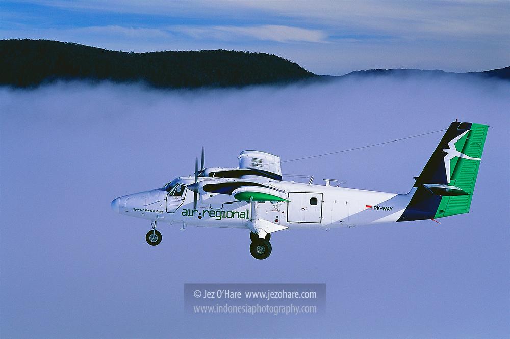 Air Regional DHC-6 Twin Otter PK-WAY from Wamena to Ilaga, Kabupaten Puncak Jaya, Papua, Indonesia.