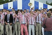 Henley, GREAT BRITAIN,  2012 Henley Royal Regatta. Supporters of Abingdon School, celebrate, after the crew wins the Princess Elizabeth Challenge Cup. Sunday  14:59:40  01/07/2012 [Mandatory Credit, Intersport-images] ..Rowing Courses, Henley Reach, Henley, ENGLAND . HRR.