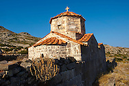 The Byzantine church if Taxiarches (The Archangels) built on the Sancturay of Zeus Hellanios, Aegina, Greek Saronic Islands .<br /> <br /> If you prefer to buy from our ALAMY PHOTO LIBRARY  Collection visit : https://www.alamy.com/portfolio/paul-williams-funkystock/aegina-greece.html <br /> <br /> Visit our GREECE PHOTO COLLECTIONS for more photos to download or buy as wall art prints https://funkystock.photoshelter.com/gallery-collection/Pictures-Images-of-Greece-Photos-of-Greek-Historic-Landmark-Sites/C0000w6e8OkknEb8