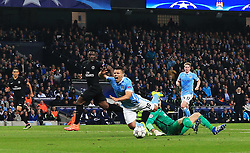 Sergio Aguero of Manchester City is brought down for a penalty by Kevin Trapp of PSG  - Mandatory byline: Matt McNulty/JMP - 07966386802 - 12/04/2016 - FOOTBALL - Etihad Stadium -Manchester,England - Manchester City v Paris Saint-Germain - UEFA Champions League - Quarter Final Second Leg