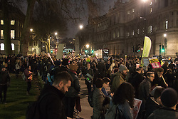 Whitehall, London, January 30th 2017. Hundreds protest outside the gates of Downing Street against an invitation by HM the Queen to US President Donald Trump for a State Visit, a date for which has still to be set. The protests come following Trump's executive Order for the temporary ban on Muslims and refugees from seven countries from entering the United States. A petition  against the visit started following the ban has gathered well over a million signatures.