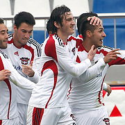 Gaziantepspor's Ismael SOSA (R) celebrate his goal with team mate during their Turkish superleague soccer match Kasimpasaspor between Gaziantepspor at the Recep Tayyip Erdogan stadium in Istanbul Turkey on Sunday 23 January 2011. Photo by TURKPIX