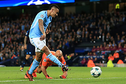 17th October 2017 - UEFA Champions League - Group F - Manchester City v Napoli - Gabriel Jesus of Man City scores, only to see the goal disallowed - Photo: Simon Stacpoole / Offside.