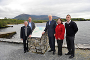 10-5-2012: Olafur Ragnar Grimsson , President of Iceland pictured at Ross castle, Killarney on Thursday with Donal Grady who gives the president a brief history of the area, Mary Foley and Martin Grady prior to addressing the European Cities Against Drugs conference in The Malton Hotel.  Mr. Olafur is Patron to ECAD and the youth programme against drugs..Picture by Don MacMonagle