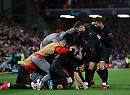 Marcos Llorent of Atletico Madrid is mobbed after scoring in extra time  during the UEFA Champions League match at Anfield, Liverpool. Picture date: 11th March 2020. Picture credit should read: Darren Staples/Sportimage