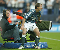 Photo: Aidan Ellis.<br /> Wigan Athletic v Newcastle United. The Barclays Premiership. 15/10/2005.<br /> Newcastle's Lee Bowyer gets close to the TV camera's