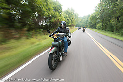 Mark Loewen on his 1925 Harley-Davidson JD Antique during Stage 6 of the Motorcycle Cannonball Cross-Country Endurance Run, which on this day ran from Cape Girardeau to Sedalia, MO., USA. Wednesday, September 10, 2014.  Photography ©2014 Michael Lichter.