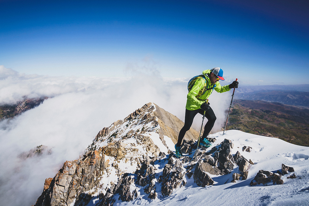 October days, Rob Lea heads toward the summit of Mount Nebo, the highest summit in the Wasatch Range, at 11,929', Utah.