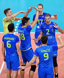 Mitja Gasparini, Klemen Cebulj, Jani Kovacic, Tine Urnaut, Alen Pajenk during volleyball match between National teams of Netherlands and Slovenia in Playoff of 2015 CEV Volleyball European Championship - Men, on October 13, 2015 in Arena Armeec, Sofia, Bulgaria. Photo by Ronald Hoogendoorn / Sportida
