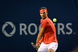 August 9, 2018 - Toronto, ON, U.S. - TORONTO, ON - AUGUST 09: Rafael Nadal (ESP) returns the ball during his third round match of the Rogers Cup tennis tournament on August 9, 2018, at Aviva Centre in Toronto, ON, Canada. (Photograph by Julian Avram/Icon Sportswire) (Credit Image: © Julian Avram/Icon SMI via ZUMA Press)