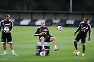 Swansea city's Jonjo Shelvey © in action . Swansea city FC team training in Llandore, Swansea,South Wales on Thursday 15th August 2013. The team are preparing for the opening weekend of the Barclays premier league when they face Man Utd. pic by Andrew Orchard,  Andrew Orchard sports photography,