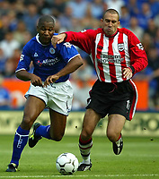 Photo Aidan Ellis.<br />Leicester City v Southampton (FA Barclaycard Premiership) 16/08/2003.<br />Leicester's Les Ferdinand and Southampton's Danny Higginbotham