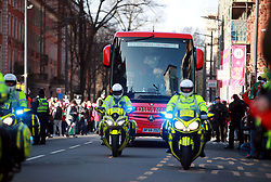 The Wales team coach arrives for the Guinness Six Nations match at the Principality Stadium, Cardiff.