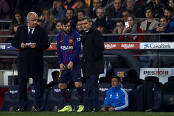 February 6, 2019 - Barcelona, Barcelona, Spain - Ernestro Valverde of Barcelona gives instructions to Lionel Messi during the Spanish Cup (King's cup), first leg semi-final match between FC Barcelona and  Real Madrid at Camp Nou stadium on February 6, 2019 in Barcelona, Spain. (Credit Image: © Jose Breton/NurPhoto via ZUMA Press)