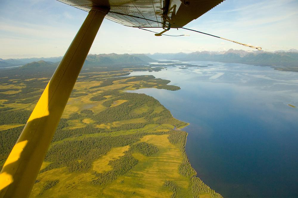 Alaska Southwest, aerial of lake Nuyakuk at Wood-Tikchik State Park.