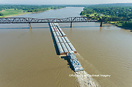 63807-01306 Barge on the Mississippi river crossing under the Thebes bridge near Thebes, IL