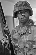 A National Guard soldier in South Central Los Angeles. Ammunition has yet to reach the National Guard.