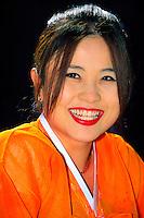 "Korean woman wearing traditional ""hanbok"" costume, Tongdosa Temple, near Pusan, South Korea"