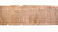 """Ancient Egyptian Book of the Dead papyrus - Spell 33 for keeping snakes away, Iufankh's Book of the Dead, Ptolomaic period (332-30BC).Turin Egyptian Museum. White Background<br /> <br /> the spell reads ' O Rerek! Move not! Behold Geb and Shu have risen against you, for you have eaten a mouse, the abomination of Re"""" you have crunched the bones of a putrified cat""""<br /> <br /> The translation of  Iuefankh's Book of the Dead papyrus by Richard Lepsius marked a truning point in the studies of ancient Egyptian funereal studies. .<br /> <br /> If you prefer to buy from our ALAMY PHOTO LIBRARY  Collection visit : https://www.alamy.com/portfolio/paul-williams-funkystock/ancient-egyptian-art-artefacts.html  . Type -   Turin   - into the LOWER SEARCH WITHIN GALLERY box. Refine search by adding background colour, subject etc<br /> <br /> Visit our ANCIENT WORLD PHOTO COLLECTIONS for more photos to download or buy as wall art prints https://funkystock.photoshelter.com/gallery-collection/Ancient-World-Art-Antiquities-Historic-Sites-Pictures-Images-of/C00006u26yqSkDOM"""