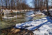 Rivière au printemps près de Saint-Patrice-De-Beaurivage en Beauce (Québec, Canada).<br /> River in spring near Saint-Patrice-De-Beaurivage in Beauce (Quebec, Canada).<br /> #landscape