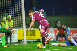 Arbroath's Steven Doris scoring their second goal. Arbroath 2 v 0 Montrose, Scottish Football League Division One played 10/11/2018 at Arbroath's home ground, Gayfield Park.