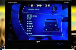 08-07-2010 VOLLEYBAL: WLV NEDERLAND - ZUID KOREA: EINDHOVEN<br /> Nederland verslaat Zuid Korea met 3-0 / Media TV schermen, monitors statistics, opstelling, volleybal item<br /> ©2010-WWW.FOTOHOOGENDOORN.NL