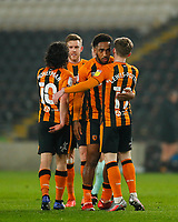 Hull City's Mallik Wilks is congratulated by Keane Lewis-Potter after scores his side's first goal in the 24th minute<br /> <br /> Photographer Lee Parker/CameraSport<br /> <br /> The EFL Sky Bet League One - Hull City v Rochdale - Tuesday 2nd March 2021 - KCOM Stadium - Kingston upon Hull<br /> <br /> World Copyright © 2021 CameraSport. All rights reserved. 43 Linden Ave. Countesthorpe. Leicester. England. LE8 5PG - Tel: +44 (0) 116 277 4147 - admin@camerasport.com - www.camerasport.com