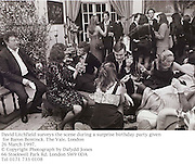 David Litchfield surveys the scene during a surprise birthday party given for Baron Bentinck. The Vale. London<br />26 March 1997.<br />© Copyright Photograph by Dafydd Jones<br />66 Stockwell Park Rd. London SW9 0DA<br />Tel 0171 733 0108