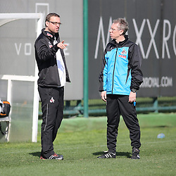 24.01.2014, Maxx Royal, Belek, TUR, FS Vorbereitung, 1. FC Koeln, Trainingslager, im Bild Joerg Jakobs (Leiter Kaderplanung u Transfermanagement 1 FC Koeln) im Gespraech mit Trainer Peter Stoeger (1 FC Koeln) // during a practice session at the training camp of the German 2nd Bundesliga Club 1. FC Koeln at the Maxx Royal in Belek, Turkey on 2014/01/24. EXPA Pictures © 2014, PhotoCredit: EXPA/ Eibner-Pressefoto/ Schueler<br /> <br /> *****ATTENTION - OUT of GER*****