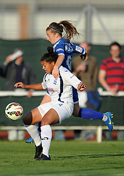 Christie Murray of Bristol Academy closes down Jessica Carter of Birmingham City Ladies - Mandatory byline: Dougie Allward/JMP - 07966386802 - 05/09/2015 - FOOTBALL - SGS Wise Campus -Bristol,England - Bristol Academy Womens v Birmingham City Ladies - FA Womens Super League