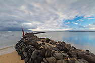 One of many ancient fish ponds on the island of Molokai, Hawaii, USA