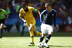 June 16, 2018 - Kazan, Kazan, Russia - Mile Jedinak (15) of Australia vies Antoine Griezman of France, during the 2018 FIFA World Cup Russia group C match between France and Australia at Kazan Arena on June 16, 2018 in Kazan, Russia. (Credit Image: © Mehdi Taamallah/NurPhoto via ZUMA Press)